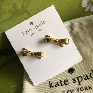 NWT Kate Spade Love Notes Gold Bow Earrings